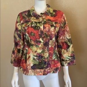 NEW CHICO'S Floral 3/4 Sleeve Jacket Top 2 Large